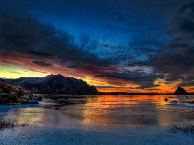 sunset landscapes Norway arctic wallpaper