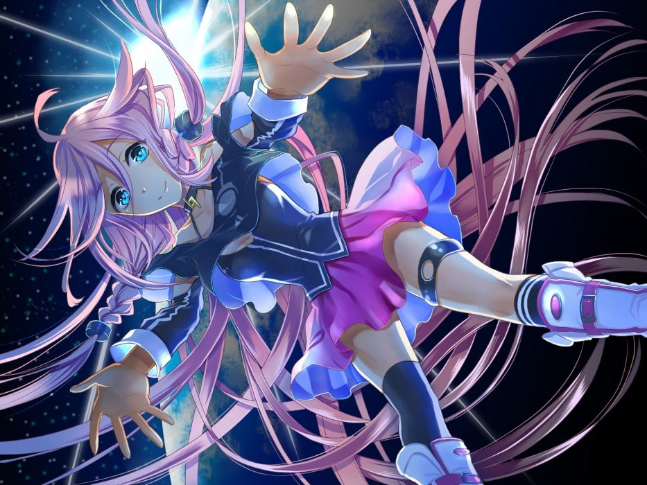 boots outer space Vocaloid stars blue eyes planets skirts falling down long hair pink hair thigh highs braids choker anime girls glowing eyes spread arms hair ornaments knee socks bare shoulders wallpaper