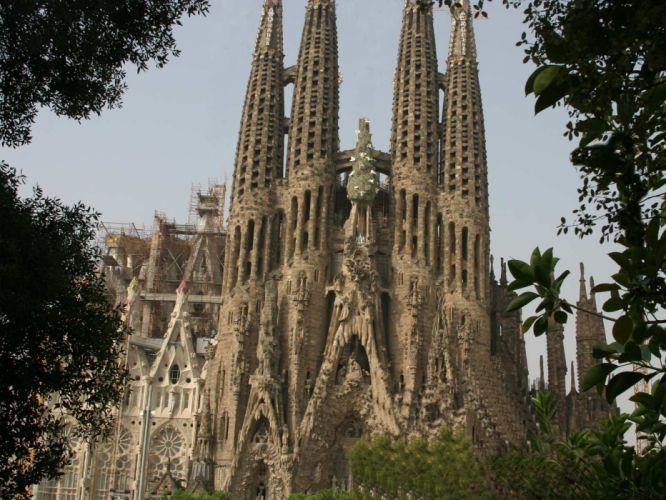 architecture buildings churches Christianity Spain Sagrada Familia Anton Gaudi wallpaper