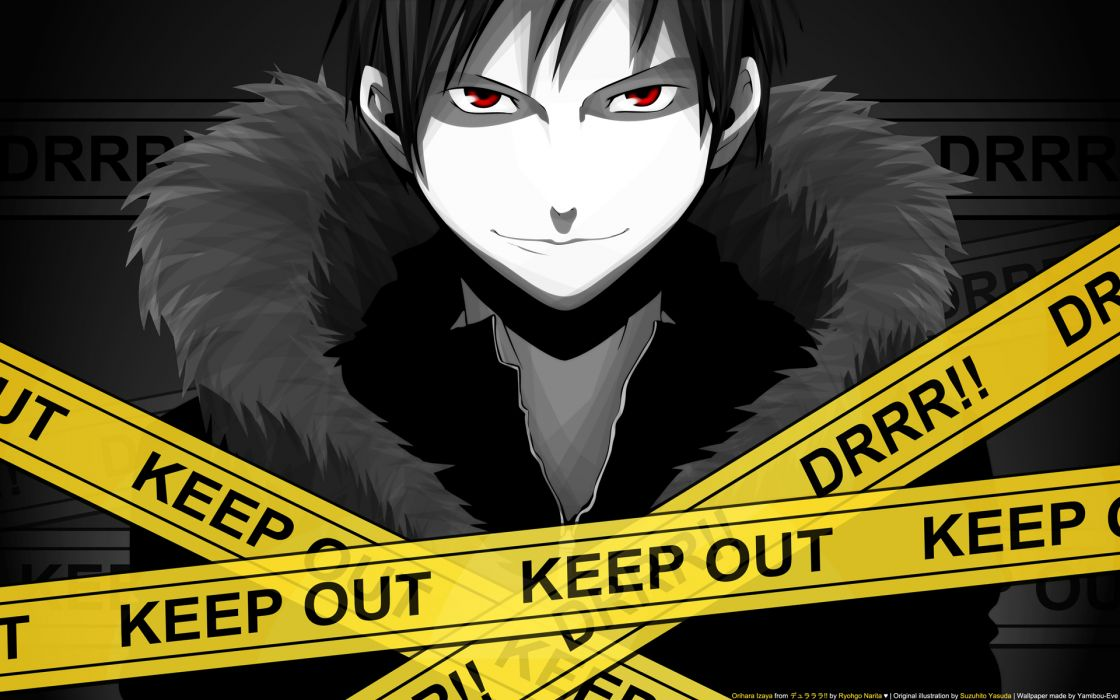 Durarara!! Orihara Izaya anime boys police tape wallpaper