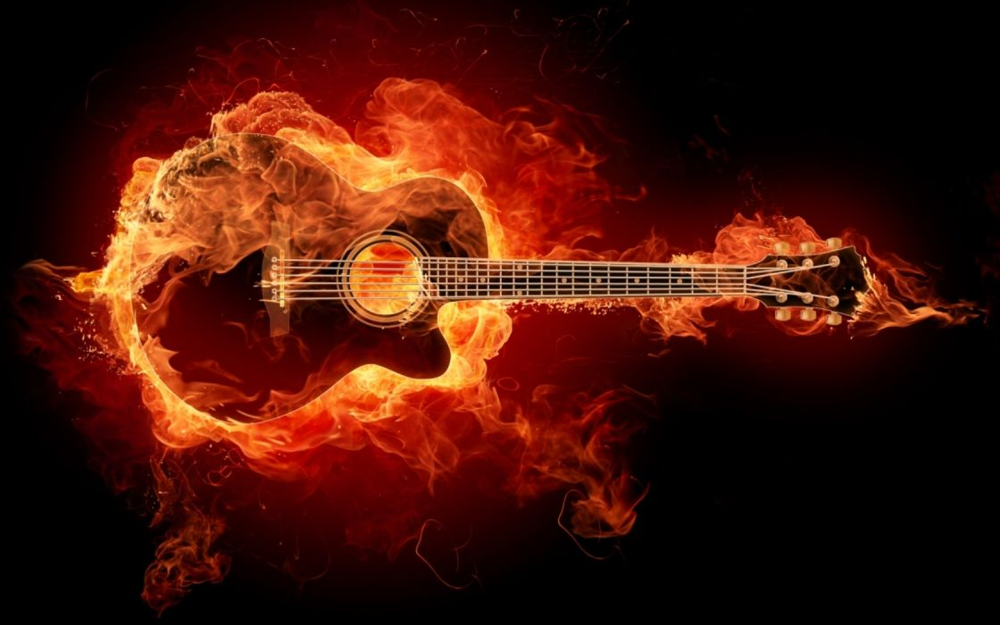 flames guitars wallpaper