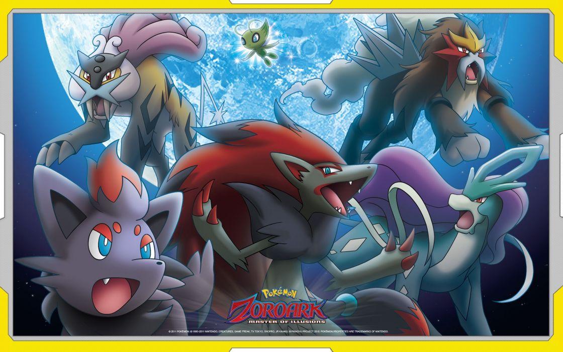 Pokemon Entei Suicune Raikou Celebi Zoroark Zorua wallpaper