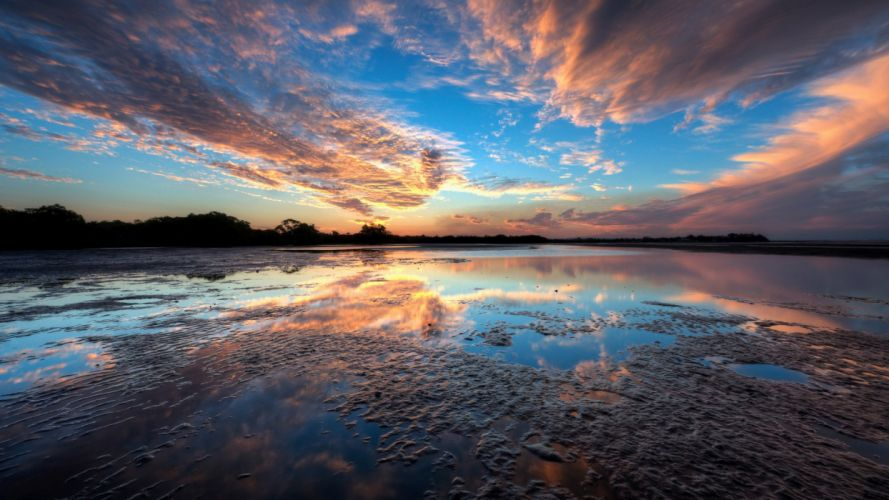 water sunset blue clouds trees lakes reflections sky wallpaper