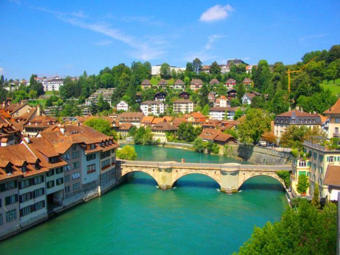 cityscapes bridges Switzerland Bern rivers wallpaper