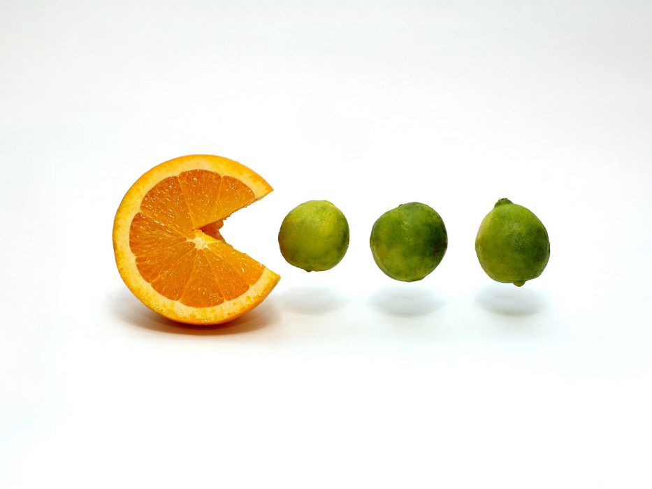 fruits limes oranges Pac-Man white background wallpaper