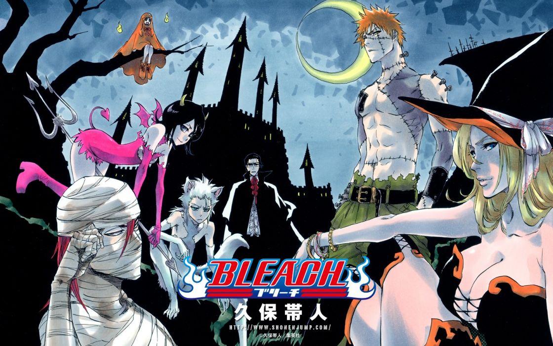 Halloween Bleach Kurosaki Ichigo Inoue Orihime Matsumoto Rangiku Kuchiki Rukia Hitsugaya Toshiro Abarai Renji Ishida Uryuu wallpaper