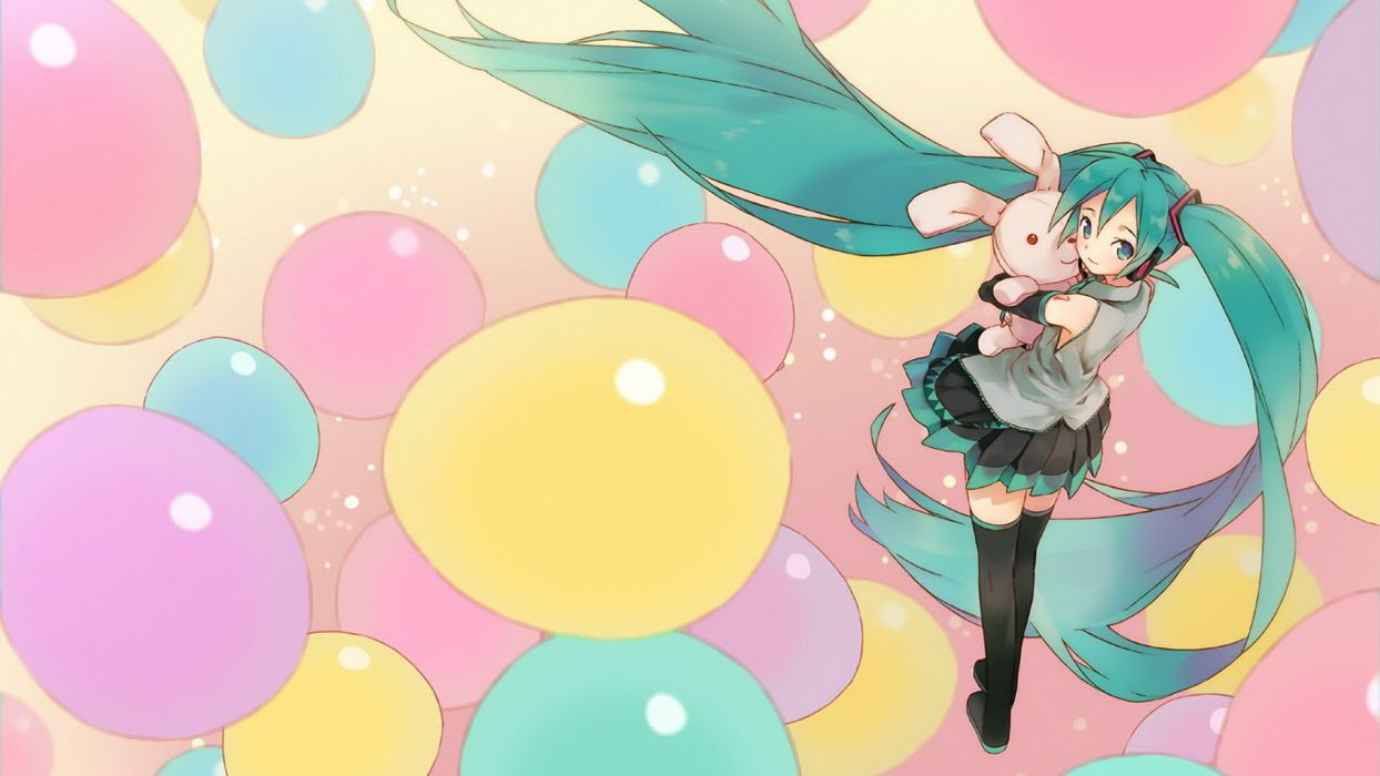 Vocaloid Hatsune Miku skirts twintails anime balloons anime girls detached sleeves wallpaper