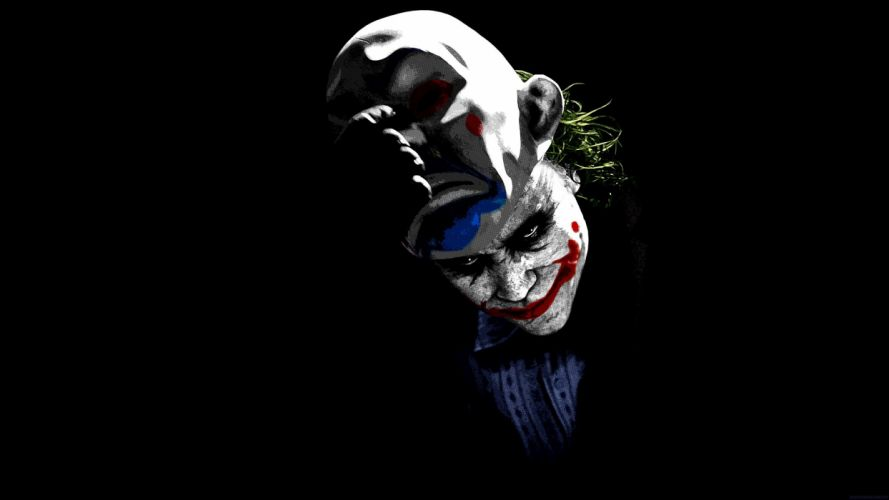 movies The Joker clowns men green hair masks black background make up wallpaper