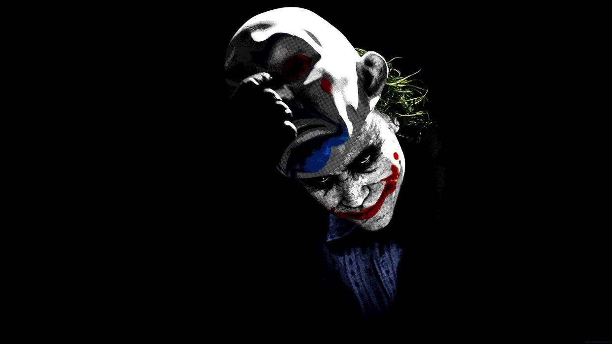 movies The Joker clowns men green hair masks black background make up wallpaper
