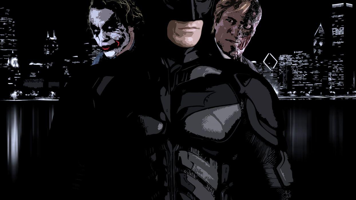 Batman The Joker Heath Ledger Two Face Dark Knight Harvey Dent Wallpaper