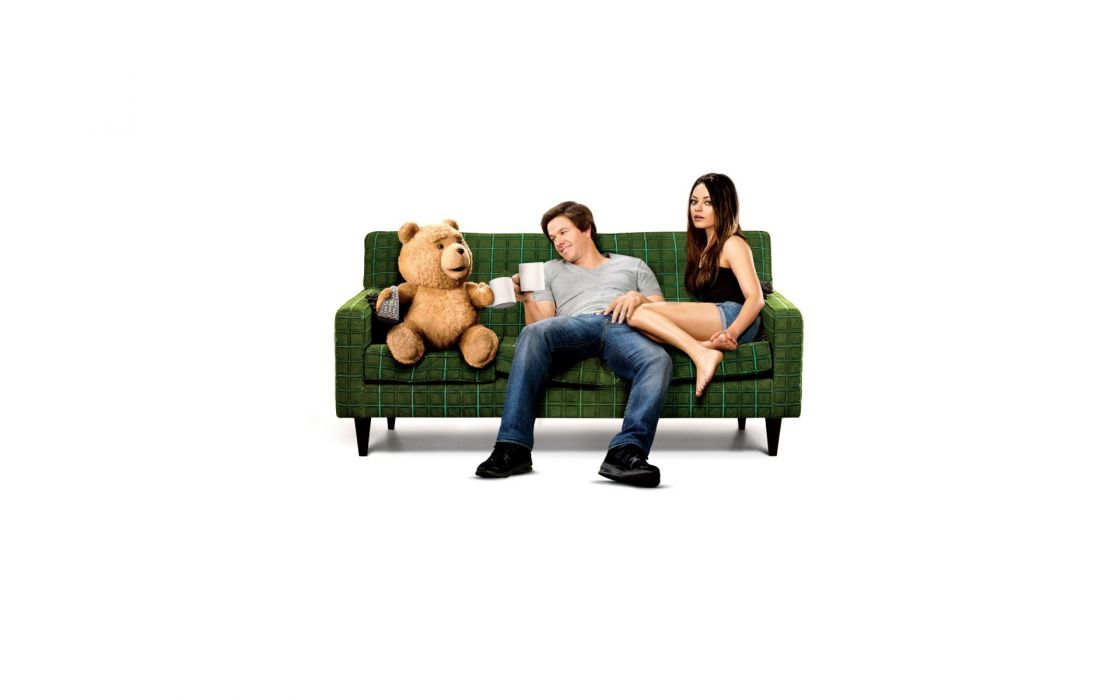 women Mila Kunis couch minimalistic movies actress men funny actors Mark Wahlberg teddy bears white background Ted wallpaper