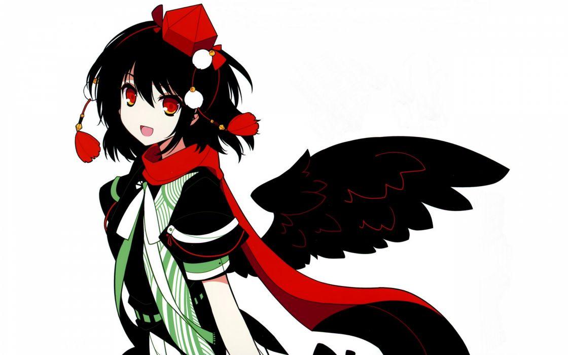 video games Touhou wings ribbons red eyes short hair Shameimaru Aya smiling open mouth scarfs hats simple background Ideolo tengu tokin hat white background black hair wallpaper