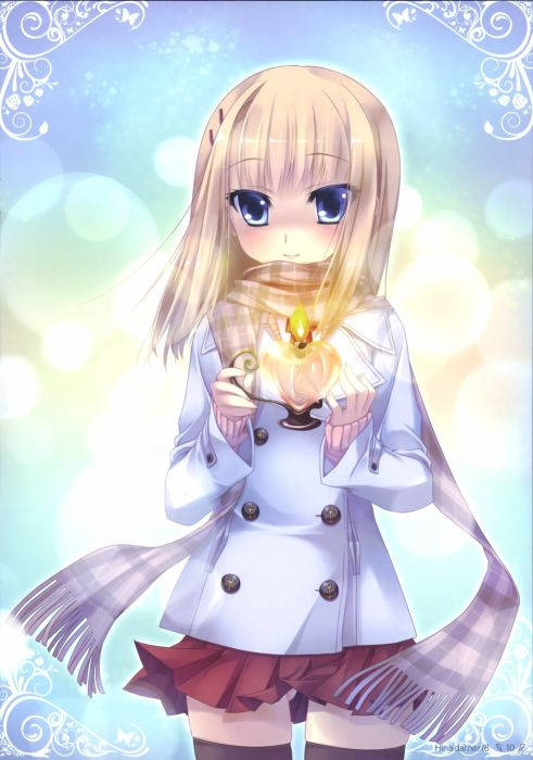 blondes blue eyes skirts scarfs candles anime girls Katagiri Hinata wallpaper