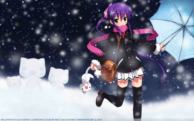 snow cats purple hair anime umbrellas scarfs Little Busters! wallpaper