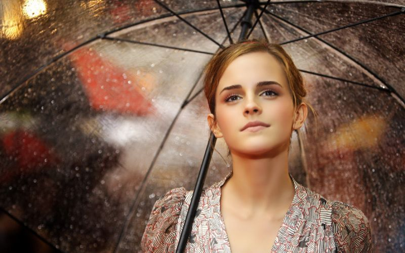 women Emma Watson umbrellas wallpaper