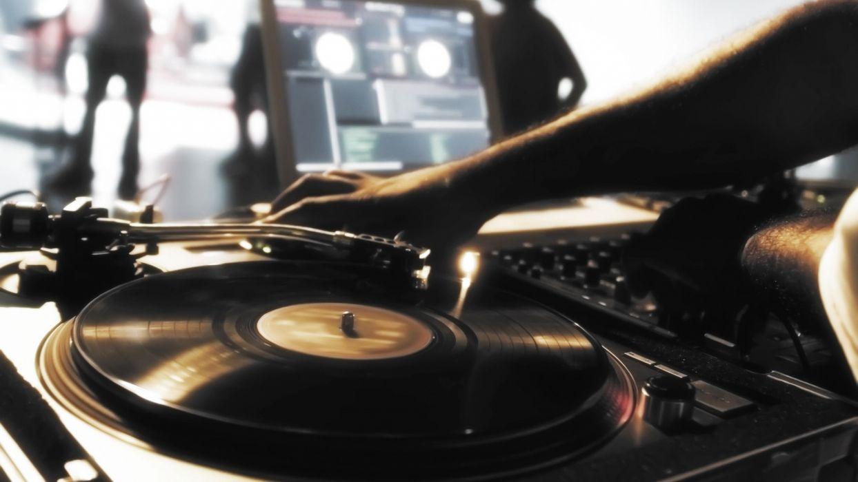 music vinyl turntables DJ  wallpaper