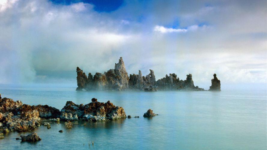 mist California lakes rock formations Mono Lake wallpaper