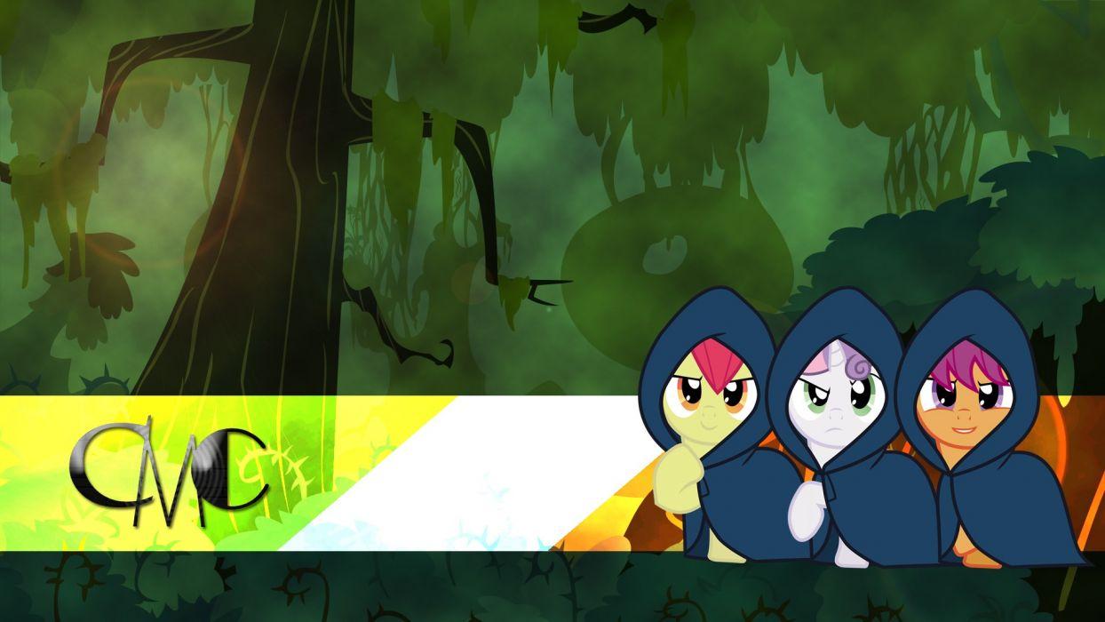 forests ponies Scootaloo Sweetie Belle Applebloom My Little Pony: Friendship is Magic Cutie Mark Crusaders Equestria wallpaper