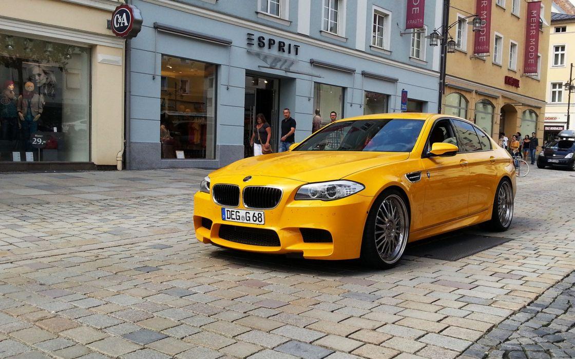 BMW streets cars yellow cars German cars wallpaper