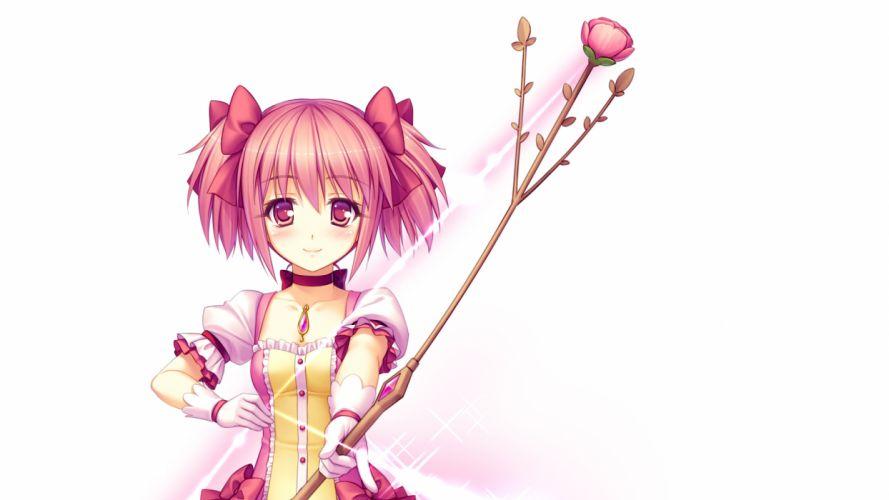 weapons pink hair short hair twintails Mahou Shoujo Madoka Magica blush Kaname Madoka bows anime arrows pink eyes choker roses Sayori Neko Works simple background anime girls white background wallpaper