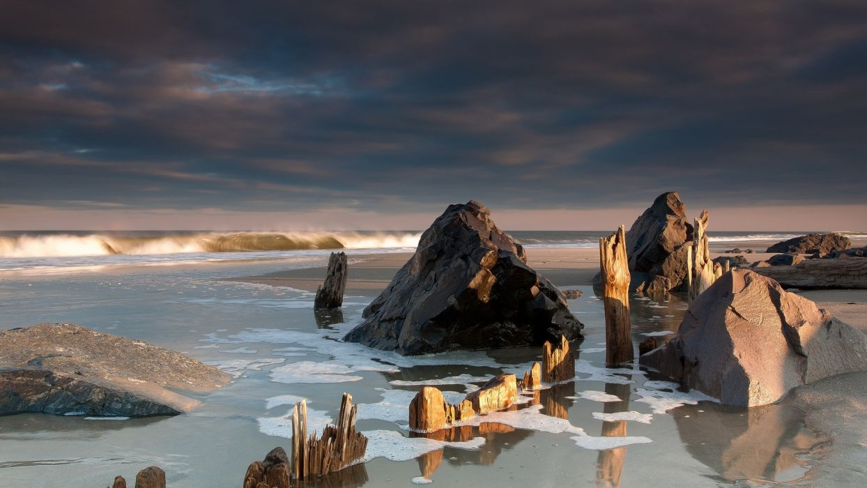 water landscapes nature wind stones dirty chips sea beaches wallpaper