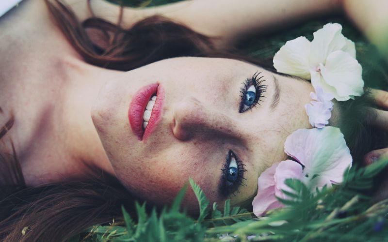 women flowers blue eyes freckles faces wallpaper