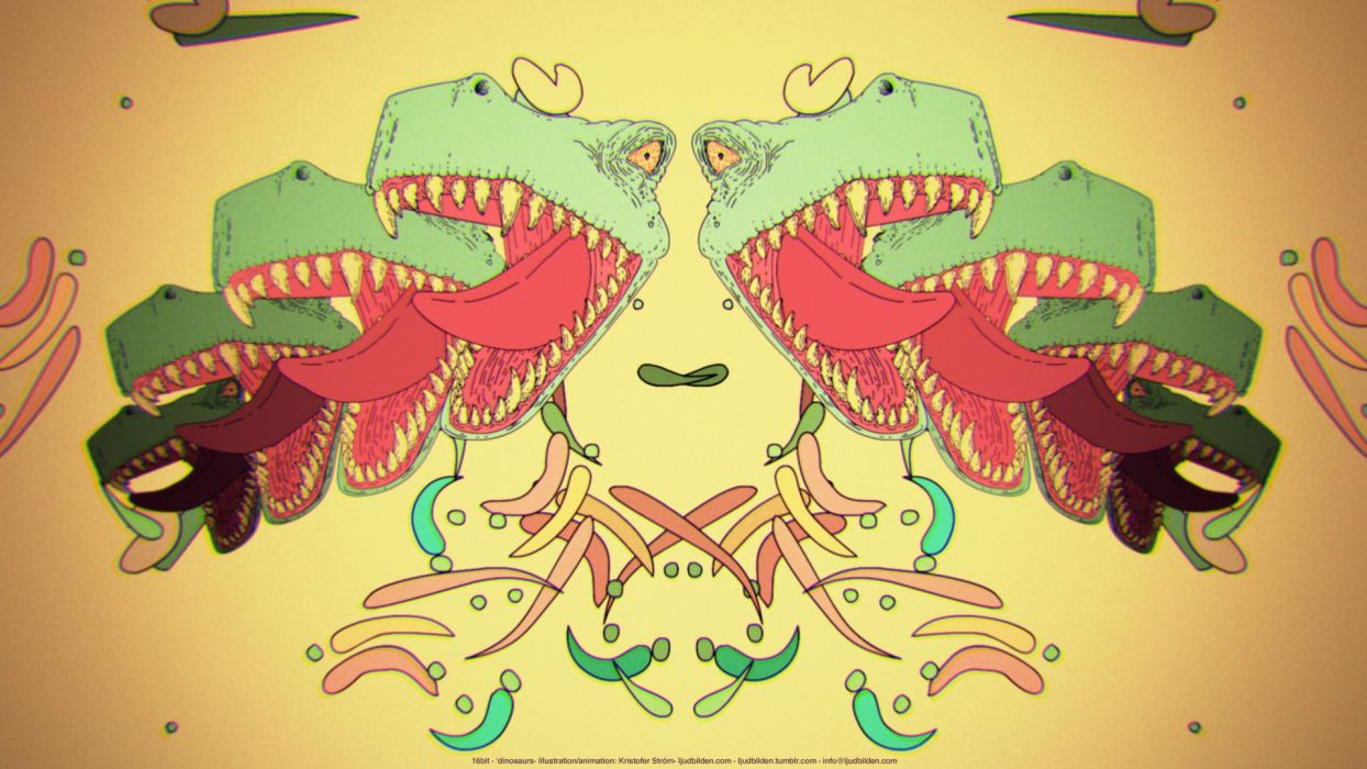 abstract dinosaurs 16-bit wallpaper