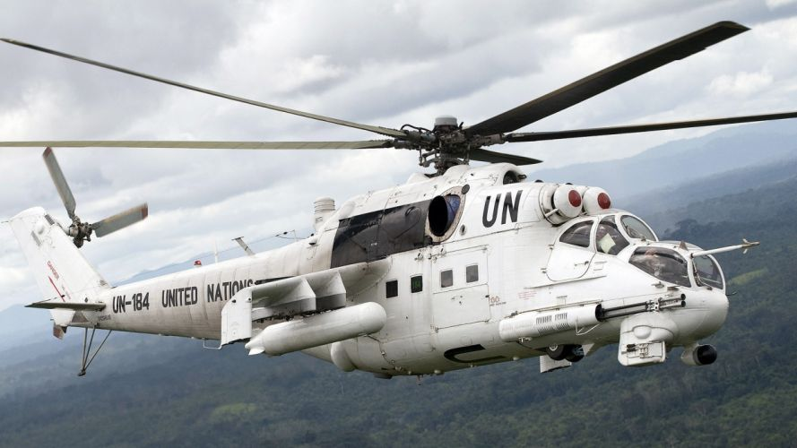 helicopters mil hind transportation Mi-24 United Nations Russians wallpaper