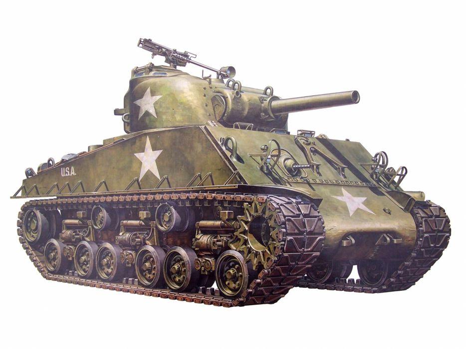 M-4 SHERMAN TANK weapon military tanks retro    h wallpaper