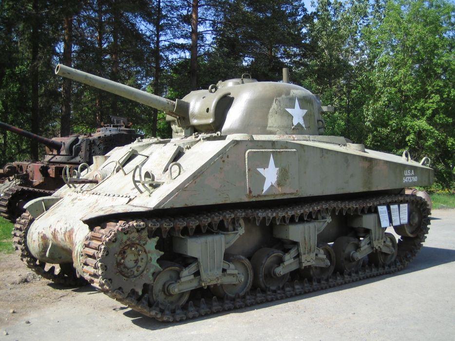 M-4 SHERMAN TANK weapon military tanks retro  r wallpaper
