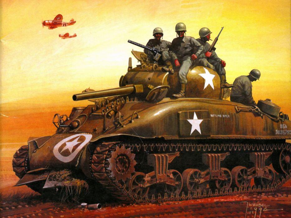 M-4 SHERMAN TANK weapon military tanks retro soldier    fw wallpaper