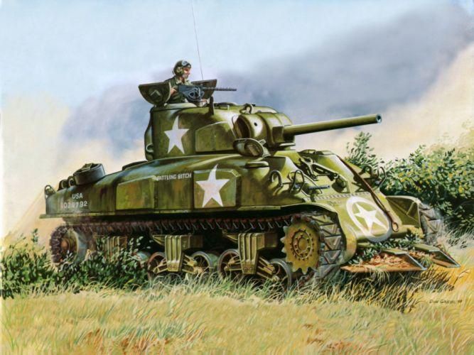 M-4 SHERMAN TANK weapon military tanks retro soldier d wallpaper