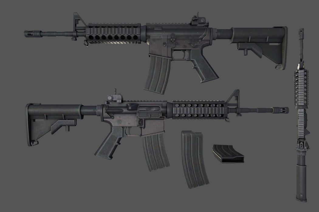 M4A1 weapon gun military rifle police    te wallpaper