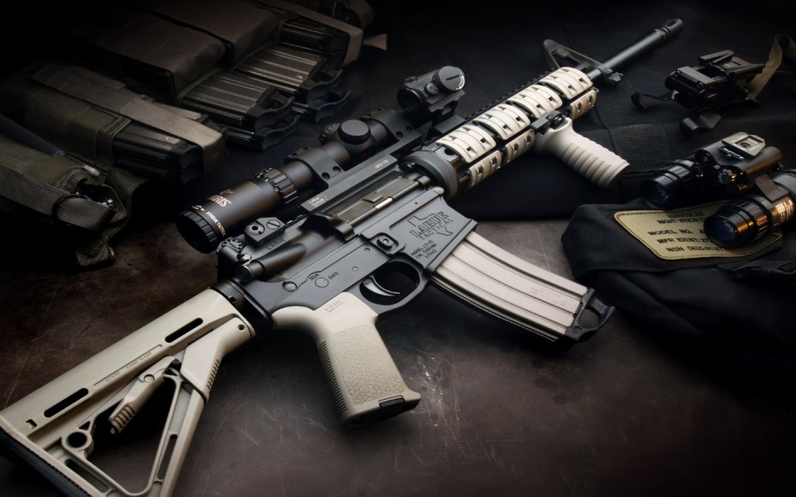 M4A1 weapon gun military rifle police   f wallpaper
