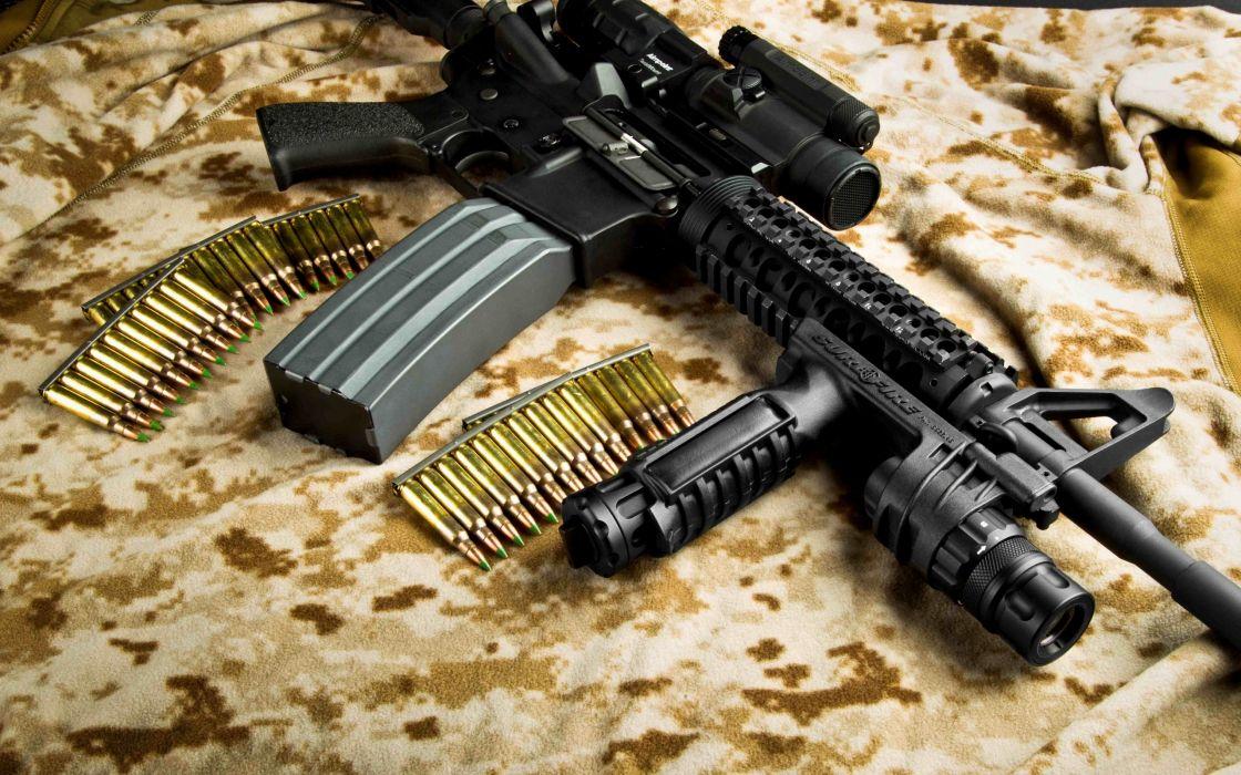 M4A1 weapon gun military rifle police ammo    y wallpaper