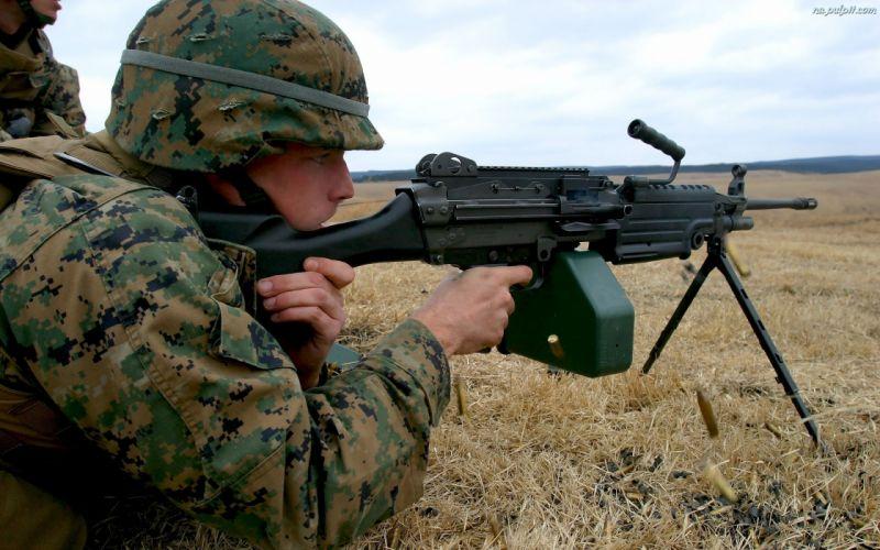 M249 SAW machine weapon gun military soldier g wallpaper