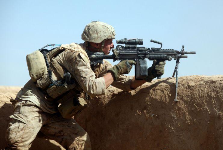 M249 SAW machine weapon gun military soldier e wallpaper
