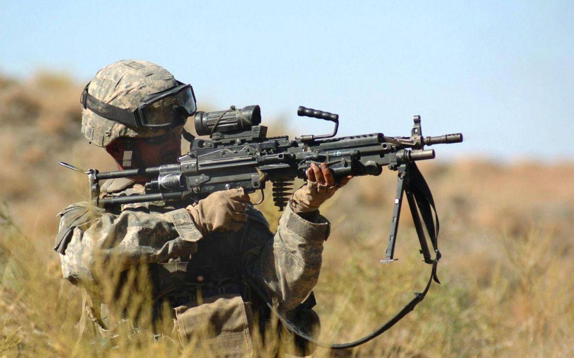 M249 SAW machine weapon gun military soldier   f wallpaper