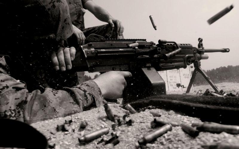M249 SAW machine weapon gun military soldier ammo d wallpaper