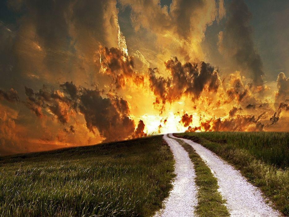 clouds roads sky wallpaper