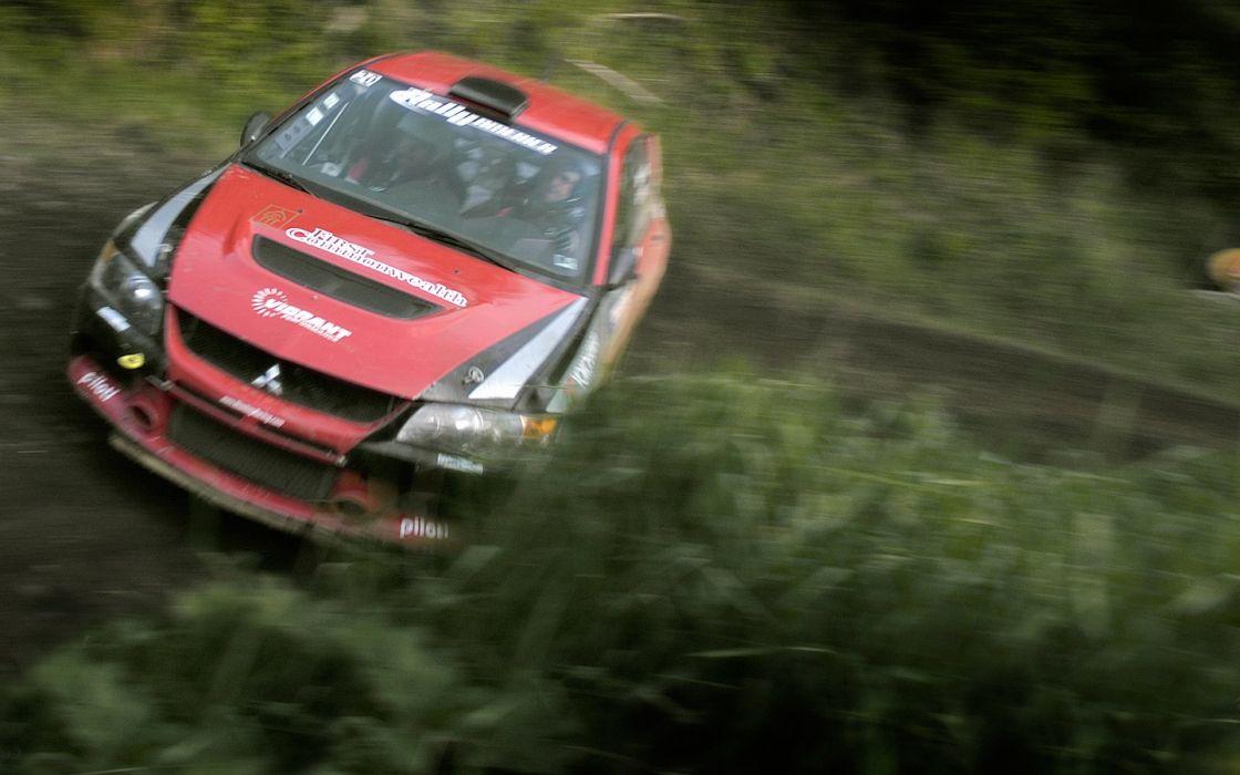 rally racing Mitsubishi Lancer Evolution red cars races rally cars racing cars rally car wallpaper