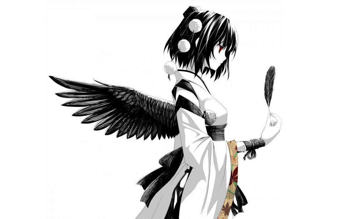 video games Touhou wings white ribbons feathers red eyes short hair Shameimaru Aya traditional dressing hats Japanese clothes simple background polychromatic tengu detached sleeves tokin hat white background black hair wristbands wallpaper