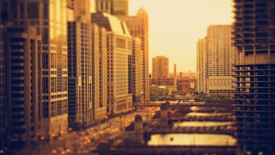 cityscapes Chicago buildings depth of field wallpaper