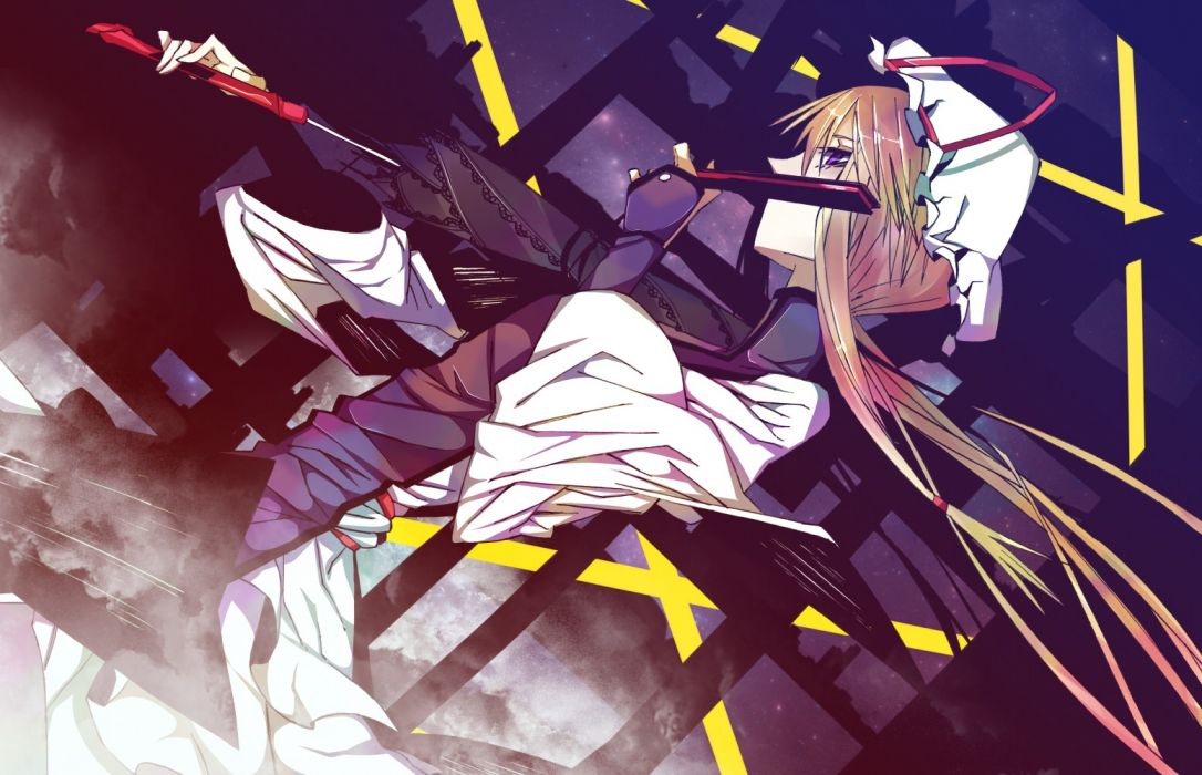 blondes video games Touhou dress long hair Yakumo Yukari umbrellas purple eyes hats fans wallpaper