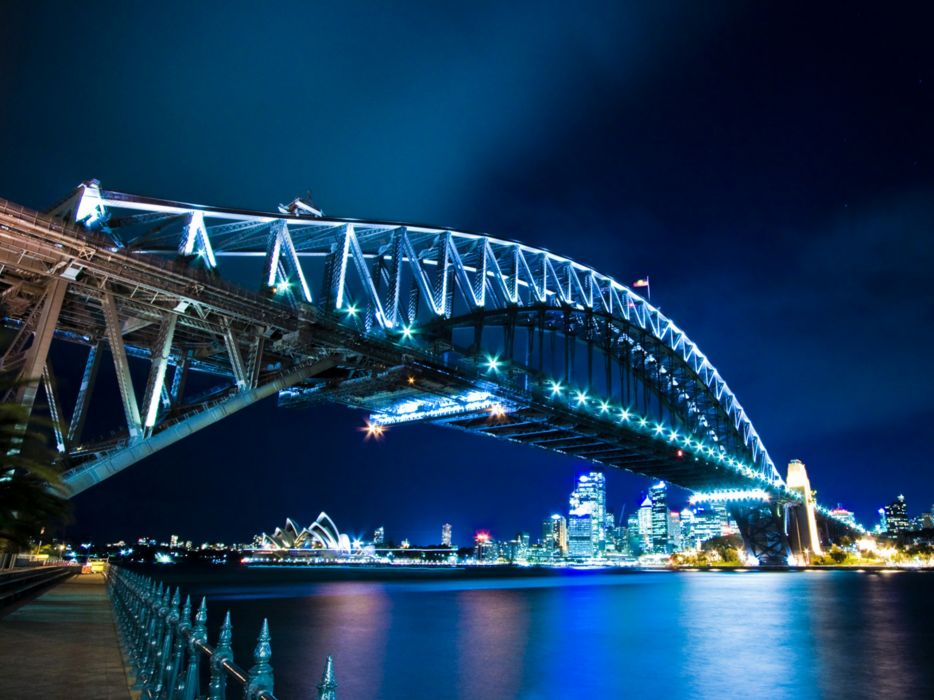 night architecture bridges buildings Sydney Opera House wallpaper