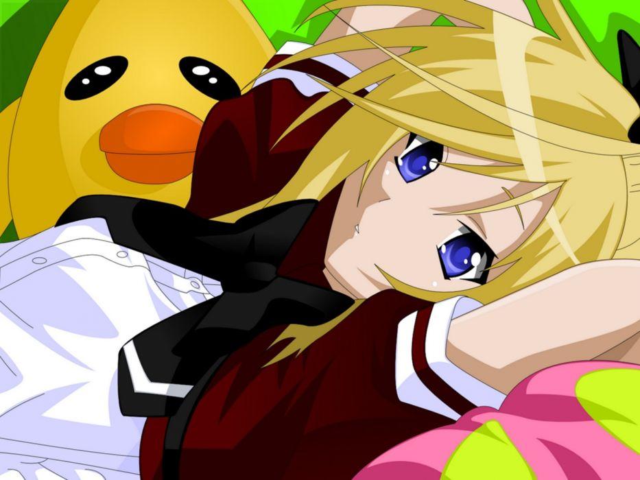 blondes blue eyes short hair seifuku Asu no Yoichi anime girls wallpaper