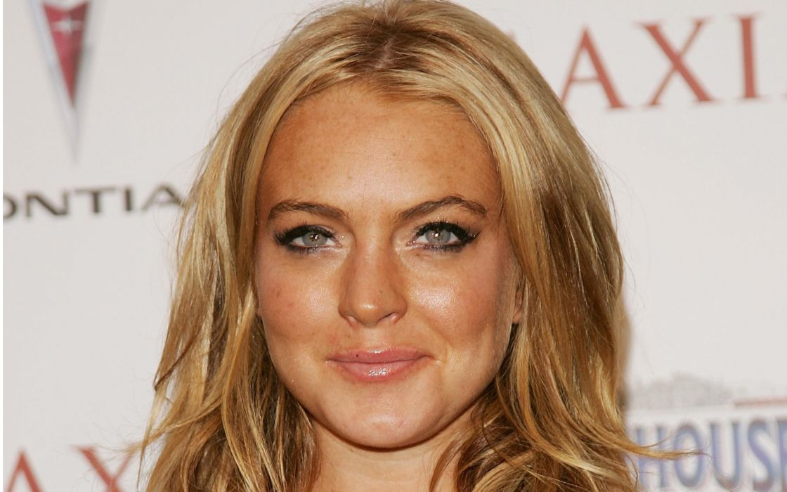 blondes women actress Lindsay Lohan faces wallpaper