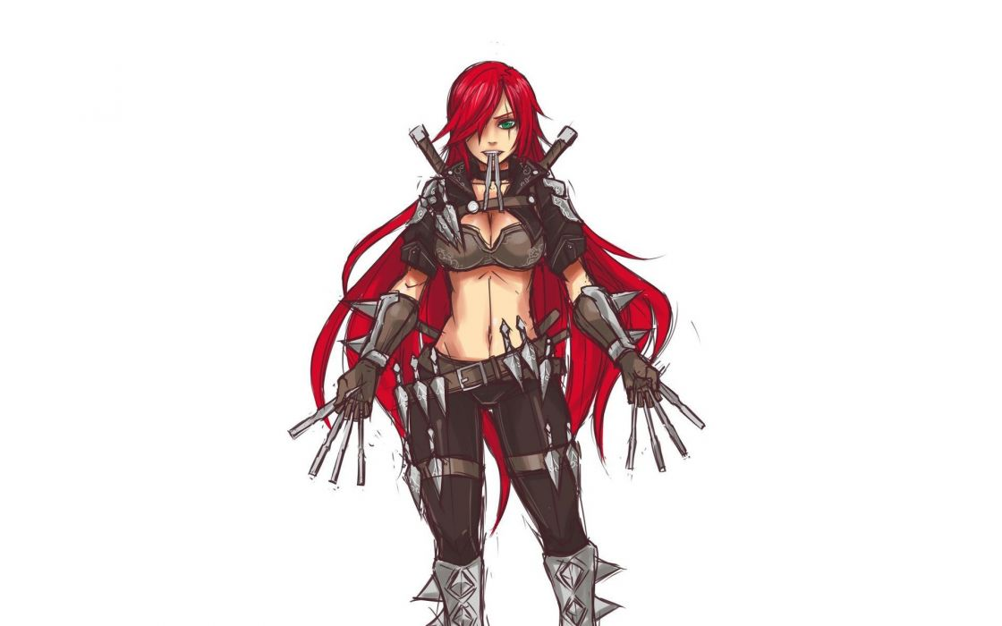video games redheads League of Legends long hair weapons green eyes artwork anime Katarina the Sinister Blade simple background white background wallpaper