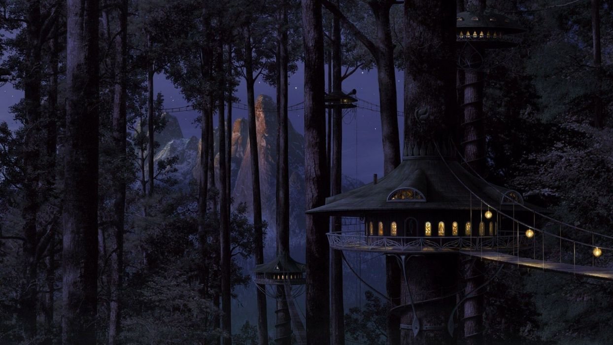 forests artwork tree house wallpaper