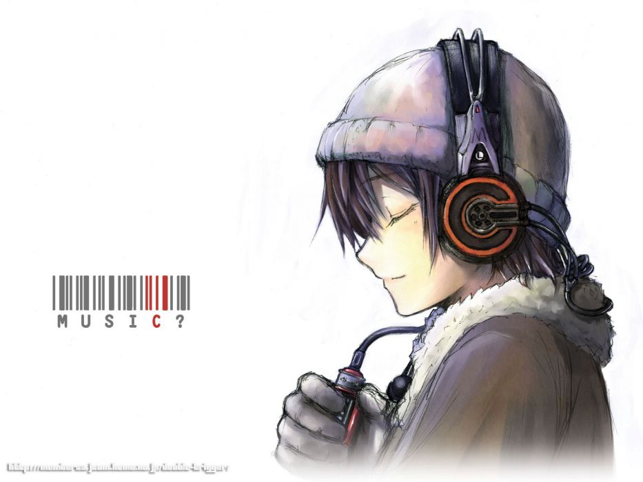 headphones music anime simple background wallpaper